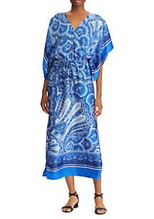 Plus Size Sendalia Three-Quarter Sleeve V-Neck Dress