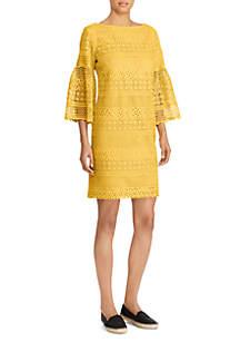 Geo 3/4 Lantern Sleeve Dress