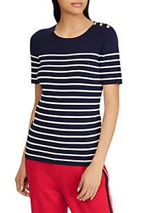 Button-Trim Striped Sweater