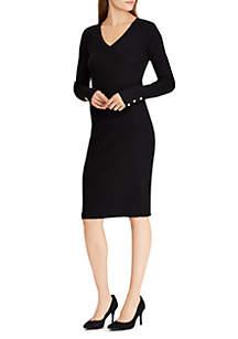 Button-Cuff Cotton-Blend Dress