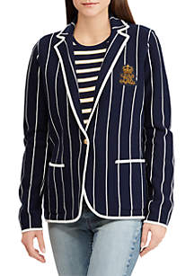 Bullion-Patch Striped Blazer