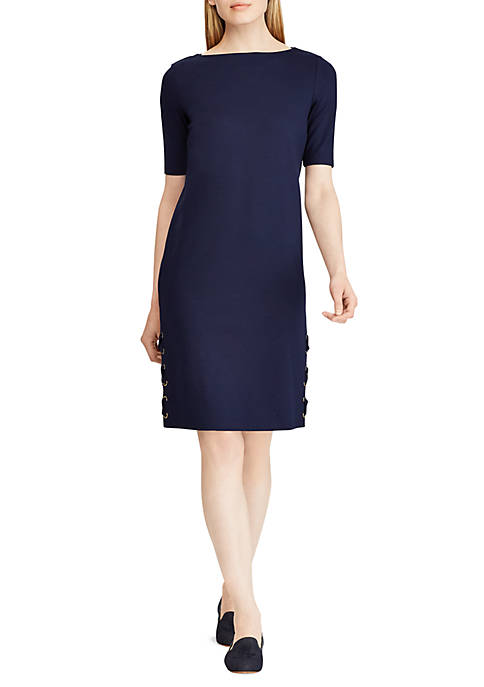 Lauren Ralph Lauren Lace-Up Elbow-Sleeve Dress