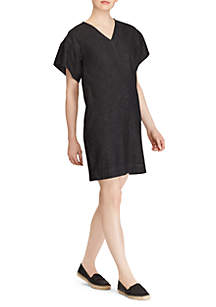 Short Sleeve Ruffle V-Neck Dress