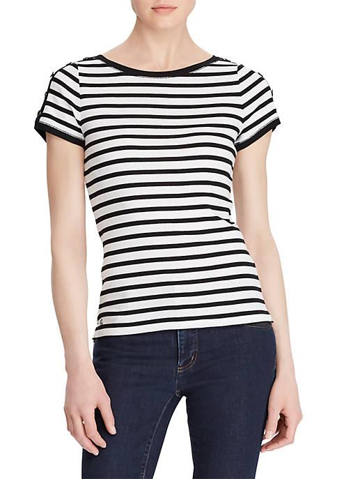 Lauren Ralph Lauren Button-Shoulder Striped Top