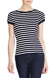 Lauren Ralph Lauren Button-Shoulder Striped Top