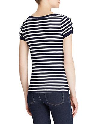 3a86c9f8 ... Lauren Ralph Lauren Button-Shoulder Striped Top ...