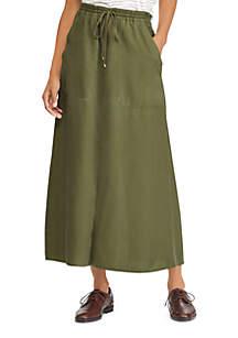 Twill Drawstring Maxi Skirt