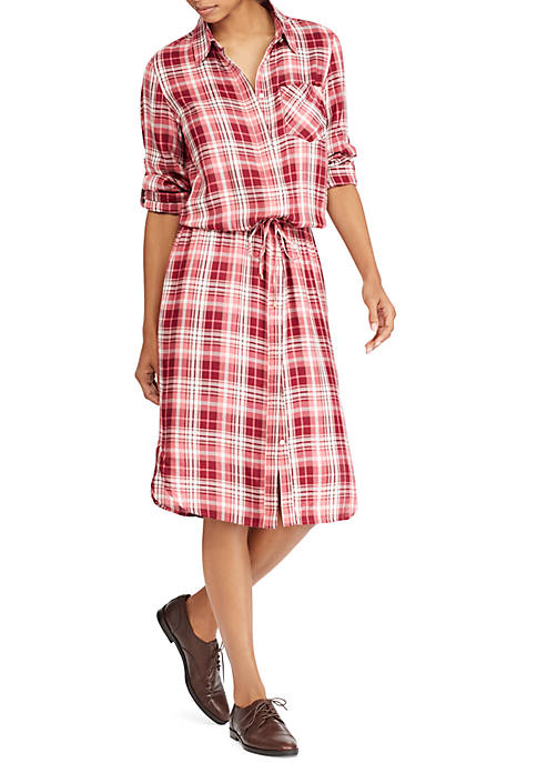 Lauren Ralph Lauren Plaid Drawstring Shirt-Dress