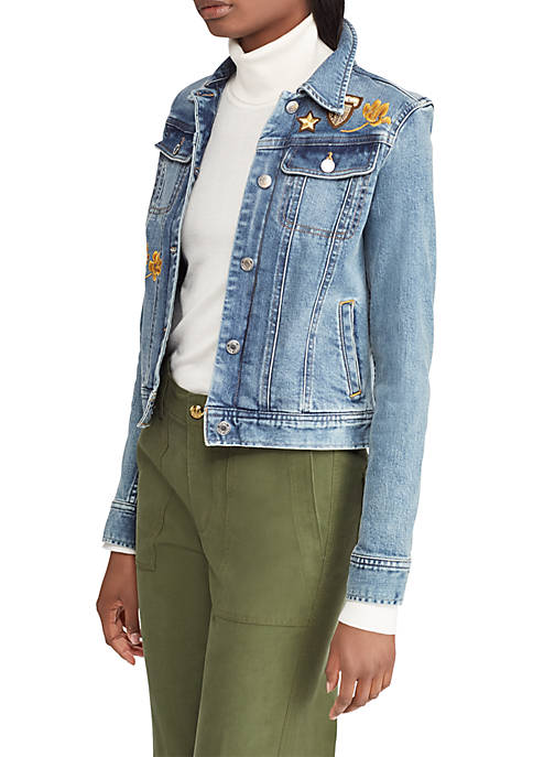 Lauren Ralph Lauren Embroidered Patch Denim Jacket