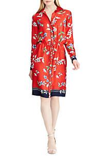 Floral-Print Twill Shirt Dress