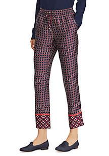 Geometric-Print Twill Pants