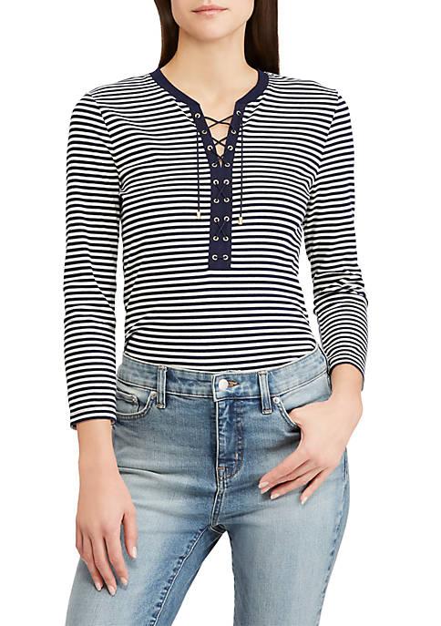 Lauren Ralph Lauren Lace-Up Striped Cotton Top