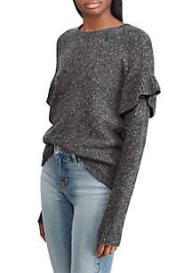Ruffled Wool-Blend Sweater