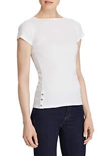 Ribbed Cotton Boat Neck Shirt