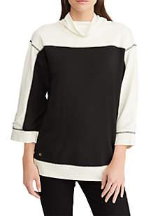 Color-Block Mockneck Pullover