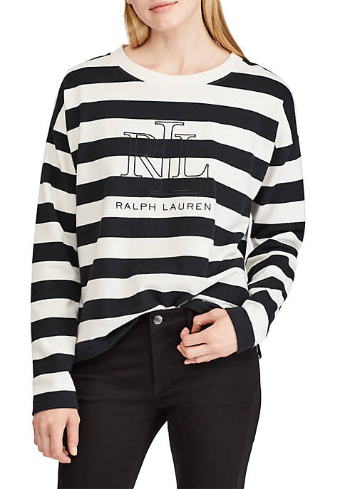 Lauren Ralph Lauren Logo Striped Terry T-Shirt