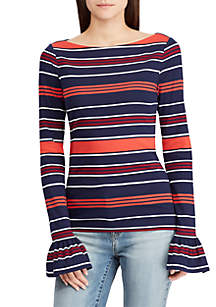 Bell-Sleeve Striped Top