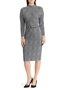 Glen Plaid Mockneck Dress