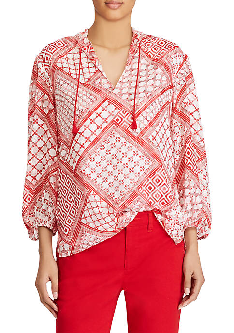 Lauren Ralph Lauren 3/4 Sleeve Top with Tassels