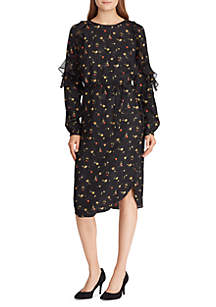 Floral-Print Ruffled Jacquard Dress