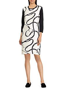 Silk-Printed Ponte Dress