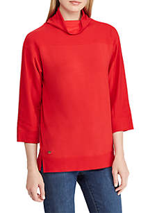 Cropped Mock Neck Pullover