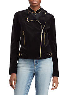 Stretch-Velvet Moto Jacket