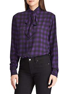 Plaid Georgette Ruffled Shirt