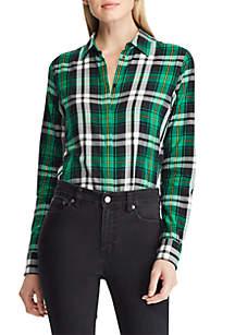 Plaid Cotton Twill Button-Down Shirt