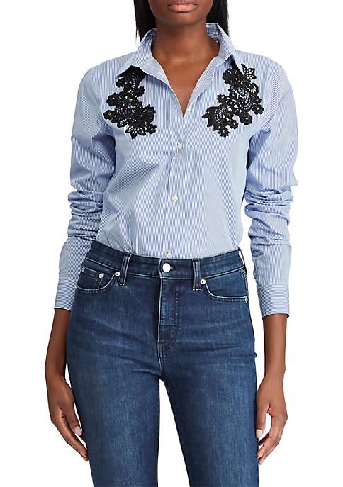 Lauren Ralph Lauren Lace-Patch Cotton Button-Down Shirt