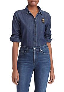 Denim-Plaid Patch Shirt