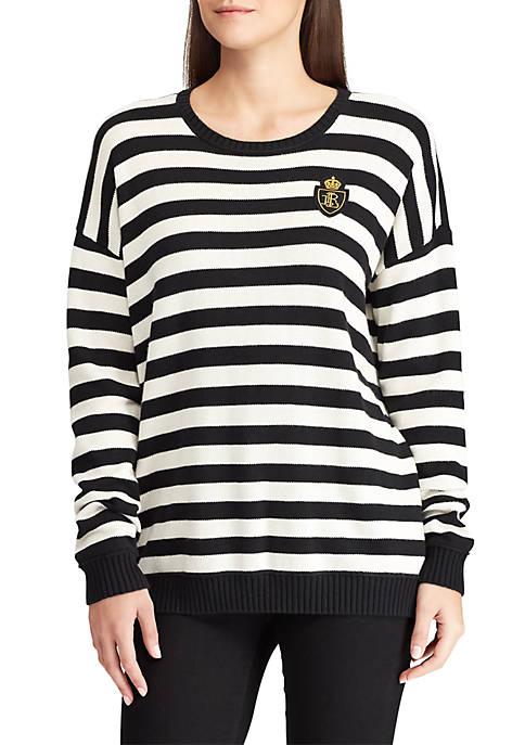 Lauren Ralph Lauren Crest-Patch Striped Cotton-Blend Top