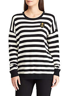 Lauren Ralph Lauren Crest-Patch Striped Cotton-Blend Top