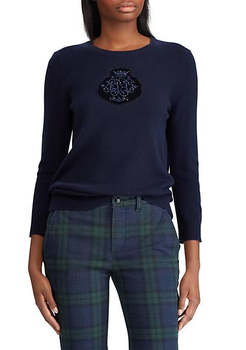 Lauren Ralph Lauren Crest-Patch Wool-Blend Sweater