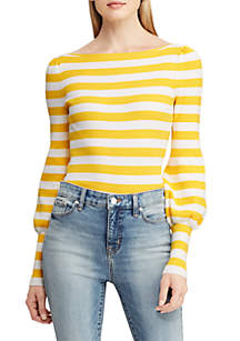 Striped Puff-Sleeve Sweater