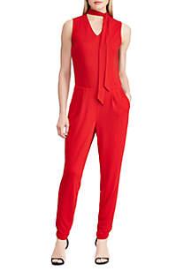 Tie-Neck Jersey Jumpsuit
