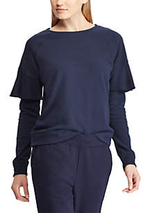 Ruffle Trim French Terry Crew Neck Pullover