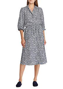 Print Crepe Shirt Dress