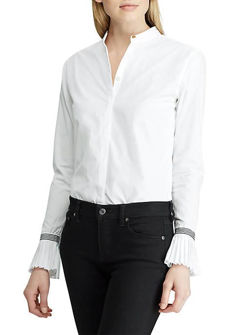 Lauren Ralph Lauren Pleated Cuff Cotton Shirt