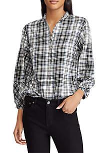 Plaid Twill Puff Sleeve Shirt