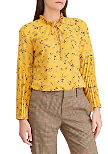 Floral-Print Georgette Bell-Sleeve Top