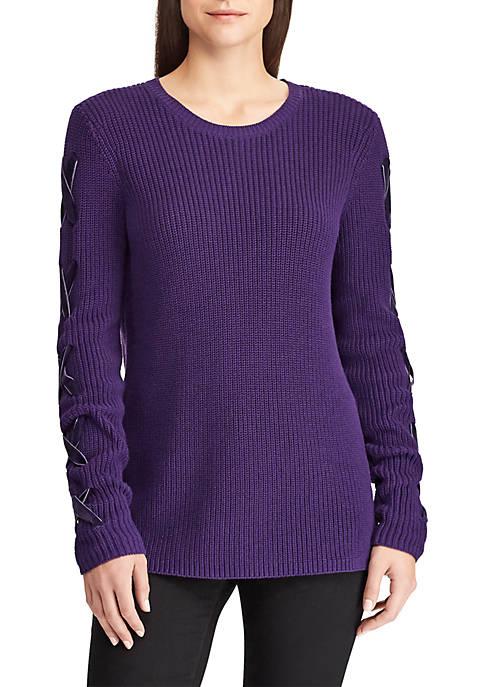 Lauren Ralph Lauren Lace-Up Cotton Sweater