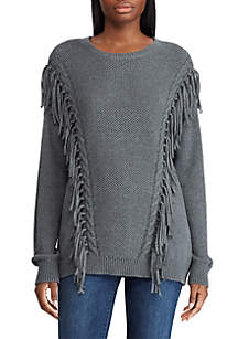 Fringe Trim Cotton Sweater
