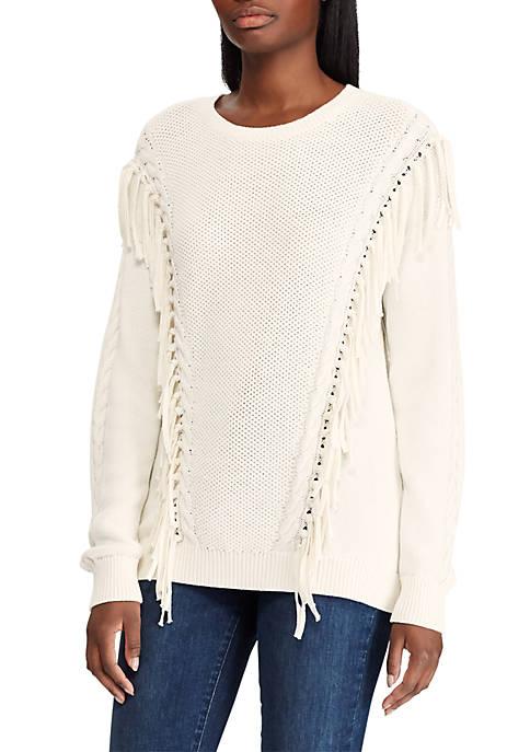Lauren Ralph Lauren Fringe Trim Cotton Sweater