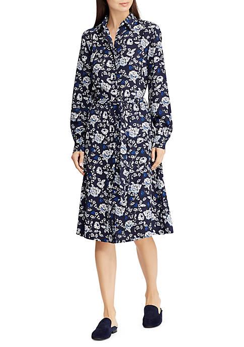 Lauren Ralph Lauren Printed Crepe Shirt Dress