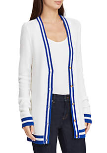 Striped Trim V-Neck Cardigan
