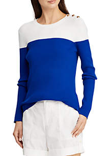 Color Blocked Cotton-Blend Sweater