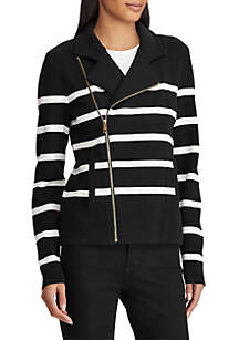 Striped Cotton-Blend Moto Jacket