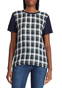 Lauren Ralph Lauren Plaid-Panel T-Shirt