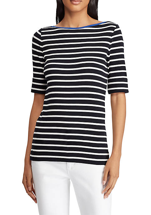 Stretch Cotton Boatneck Top